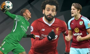 Our team of the season includes, from left, Manchester City's Ederson, Mohamed Salah of Liverpool and the Burnley defender James Tarkowski.