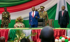 On 20 August 2015, President Nkurunziza is sworn in for a third term at a ceremony in the parliament in Bujumbura, Burundi