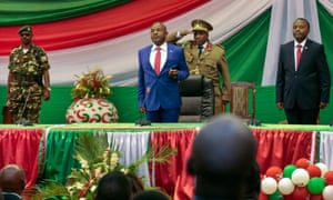 Burundi's president, Pierre Nkurunziza, centre, was sworn in for a third term in office last April.
