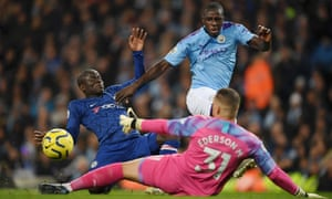 N'Golo Kante of Chelsea scores his team's first goal.