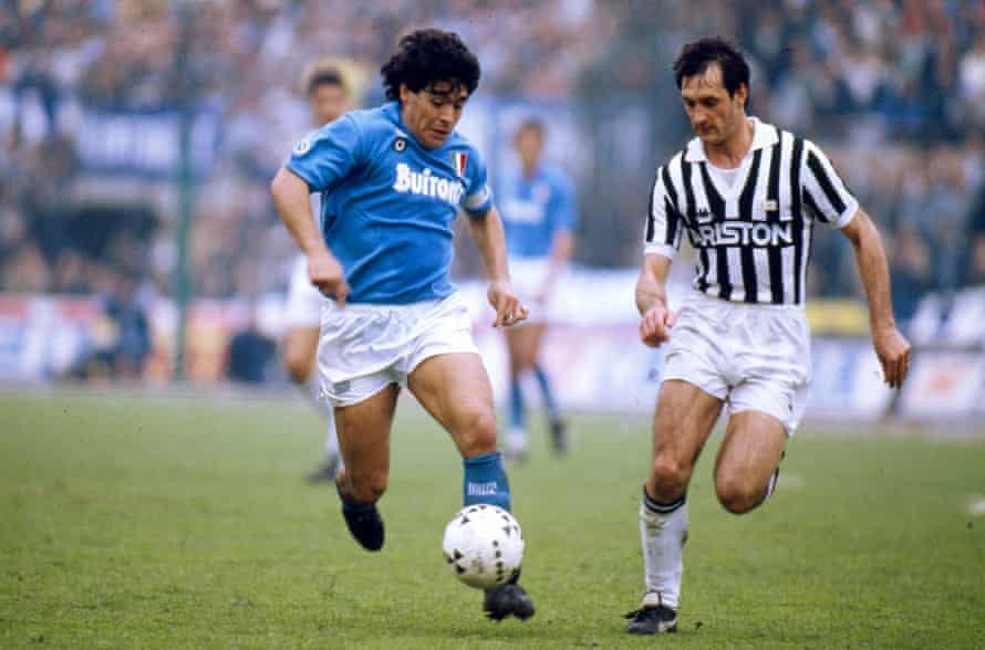 Diego Maradona in action for Napoli in 1988.