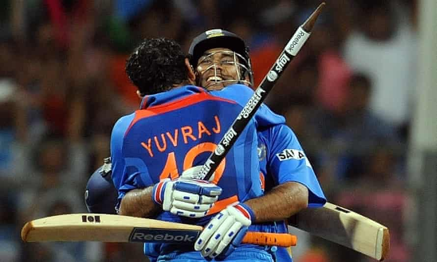 Yuvraj Singh and MS Dhoni celebrate their victory in the 2011 World Cup final between India and Sri Lanka in Mumbai.