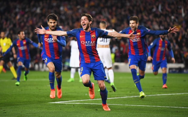 Barca Players Celebrating Sergi Roberto Winner