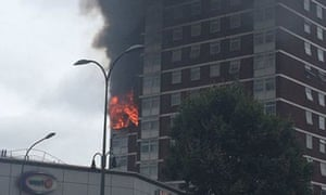 An allegedly faulty Indesit tumble dryer causes as fire at a high-rise in Shepherd's Bush, west London.