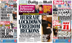 Front pages on Thursday declare the end of the lockdown.