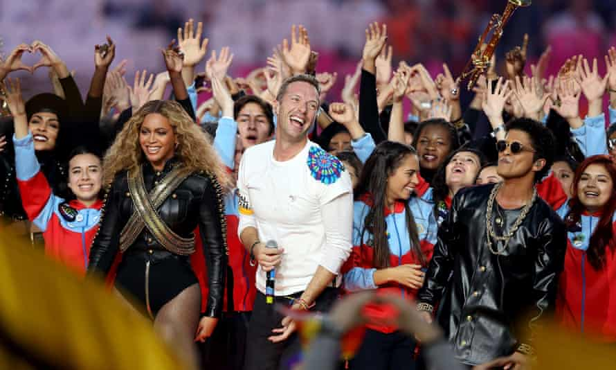 Beyoncé, Chris Martin and Bruno Mars play the Super Bowl
