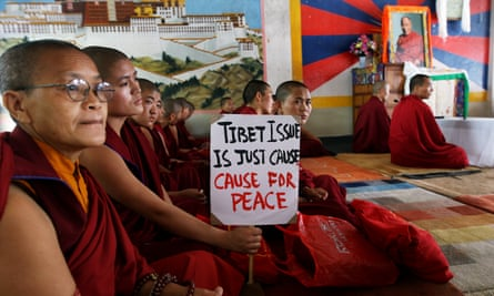 Exiled Tibetan nuns and monks participate in a 24-hour hunger strike for victims of a Chinese crackdown in Ngaba, east Tibet, in 2011.