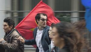 Louis Garrel as Jean-Luc Godard in Redoubtable: '60s radicalism as a series of pop art gestures'.