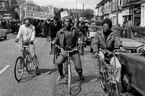 Cyclists lead the Africa Liberation Day rally, at Rookery Road in Handsworth (1977)