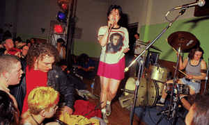 Queercore band Bikini Kill performing in 1995