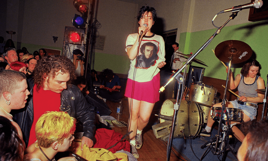 Queercore band Bikini Kill performing in 1995
