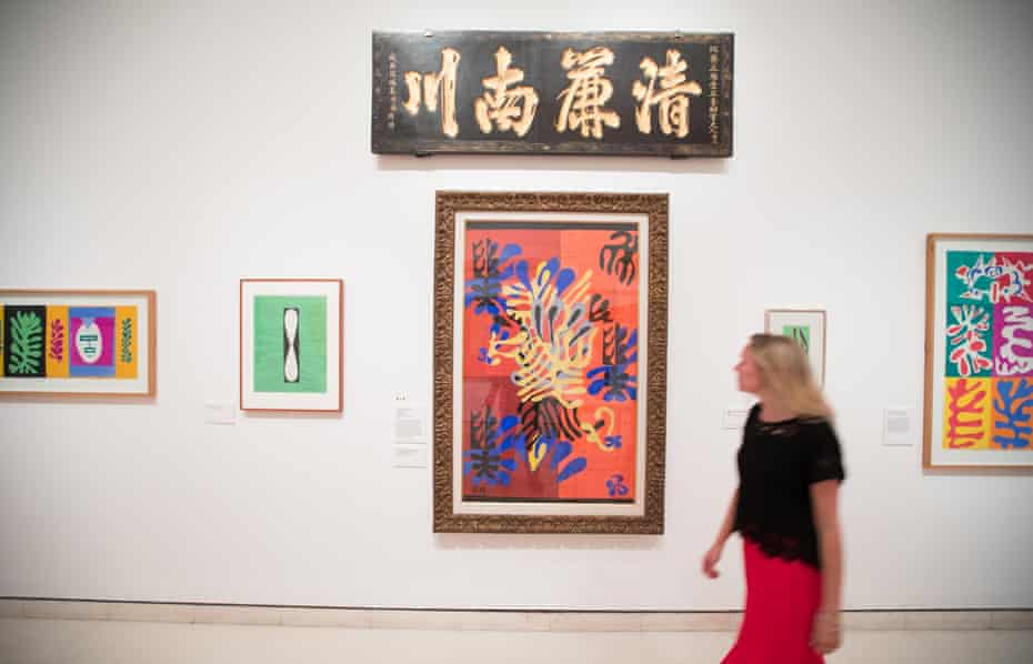 'Perfect juxtapositions': the Chinese calligraphic panel given to Matisse by his wife above some of his late cut-outs at the Royal Academy.