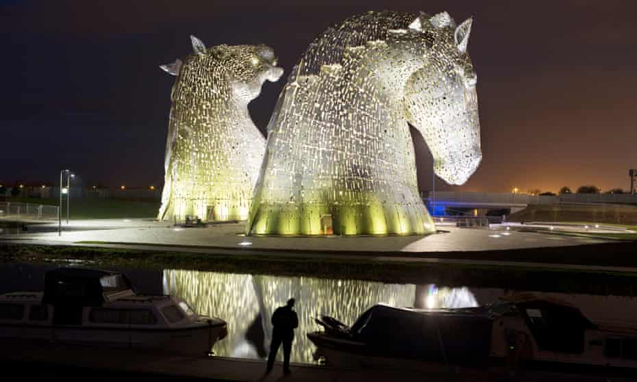 The Kelpies, two towering statues of horse heads by artist Andy Scott, in Falkirk, Scotland