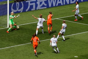Netherlands' Vivianne Miedema has her shot saved by New Zealand's Erin Nayler.