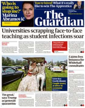 Guardian front page, Wednesday 7 October 2020