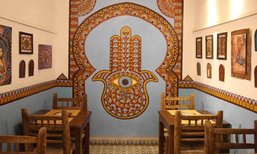 Interior of Henna Art Cafe, Marrakech, Morocco.