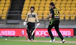 Tim Seifert is bowled by Kane Richardson