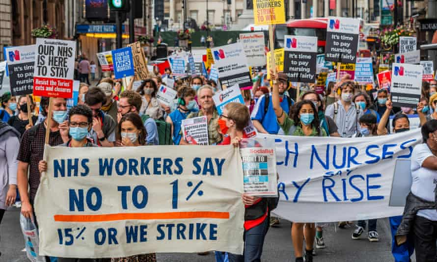 Protesters march on the 73rd anniversary of the founding of the NHS demanding better pay for health and care workers.