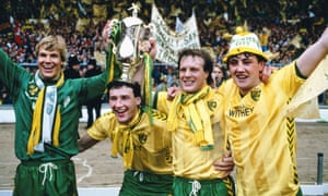 Chris Woods, Dave Watson, Paul Haylock and Steve Bruce celebrate after winning the League Cup in 1985.