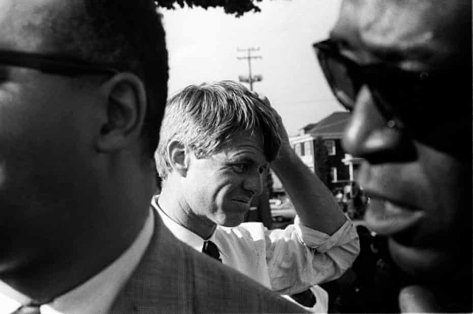 Robert F Kennedy prepares to speak at DeFremery Park, Oakland, 1 June 1968.