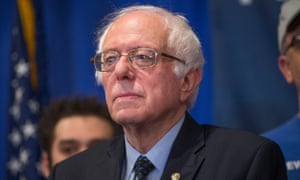 Bernie Sanders holds a press conference with union workers in East Lansing, Michigan.