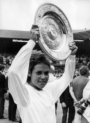 She went on to win the ladies' singles tournament at Wimbledon later the same year. Goolagong holding aloft the Wimbledon trophy after her victory over compatriot Margaret Court in two sets, 6-4, 6-1.