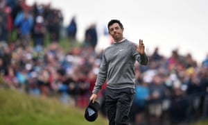 Rory McIlroy waves to the crowds at Portrush after coming agonisingly close to making the cut at his childhood course.