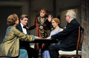 Angela Lansbury as Madam Arcati, Janie Dee as Ruth Condomine and Simon Jones as Dr Bradman in Noel Coward's Blithe Spirit directed by Michael Blakemore at the Gielgud Theatre in London