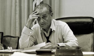 US president Lyndon Johnson, works on his speech in the White House, in 1968