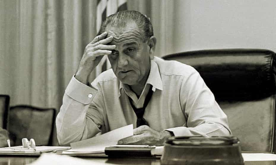 President Lyndon B Johnson, working on a speech in the White House in 1968.