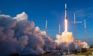 SpaceX Falcon 9 rocket lifting off with a cargo of 60 Starlink satellites from Cape Canaveral on 29 January.