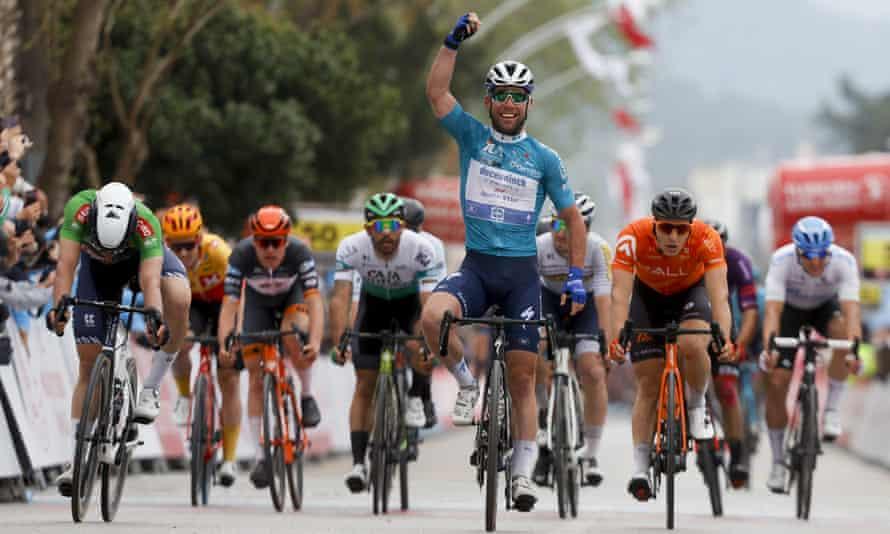 Mark Cavendish celebrates his latest sprint stage victory in Turkey.