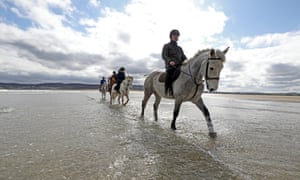 A pony ride on Dunfanaghy beach.