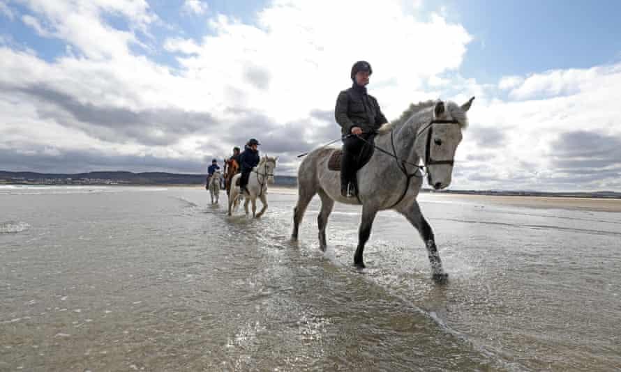 A pony ride on Dunfanaghy beach.