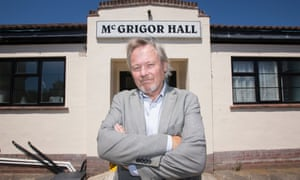 Conservative MP Giles Watling outside the McGrigor Hall in Frinton-on-Sea, Essex