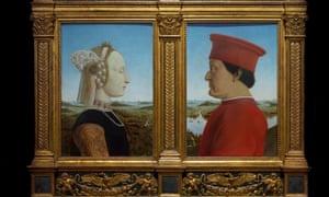 Portraits of Duke and Duchess of Urbino, by Piero della Francesca, circa 1475, in the Uffizi Gallery, Florence.
