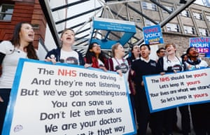 The NHS choir joins junior doctors outside Great Ormond Street hospital in London