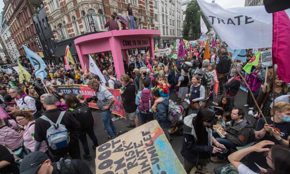 The pink table structure set up by Extinction Rebellion climate activists in Covent Garden, London.