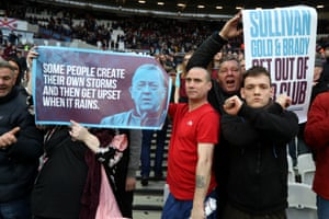 Disgruntled fans make their feelings known at the Burnley game in March.