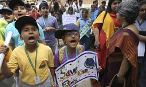 Students voice their concerns on the climate during a protest outside the Ministry of Environment, Forest and Climate Change in New Delhi, India, Friday, April 12, 2019.