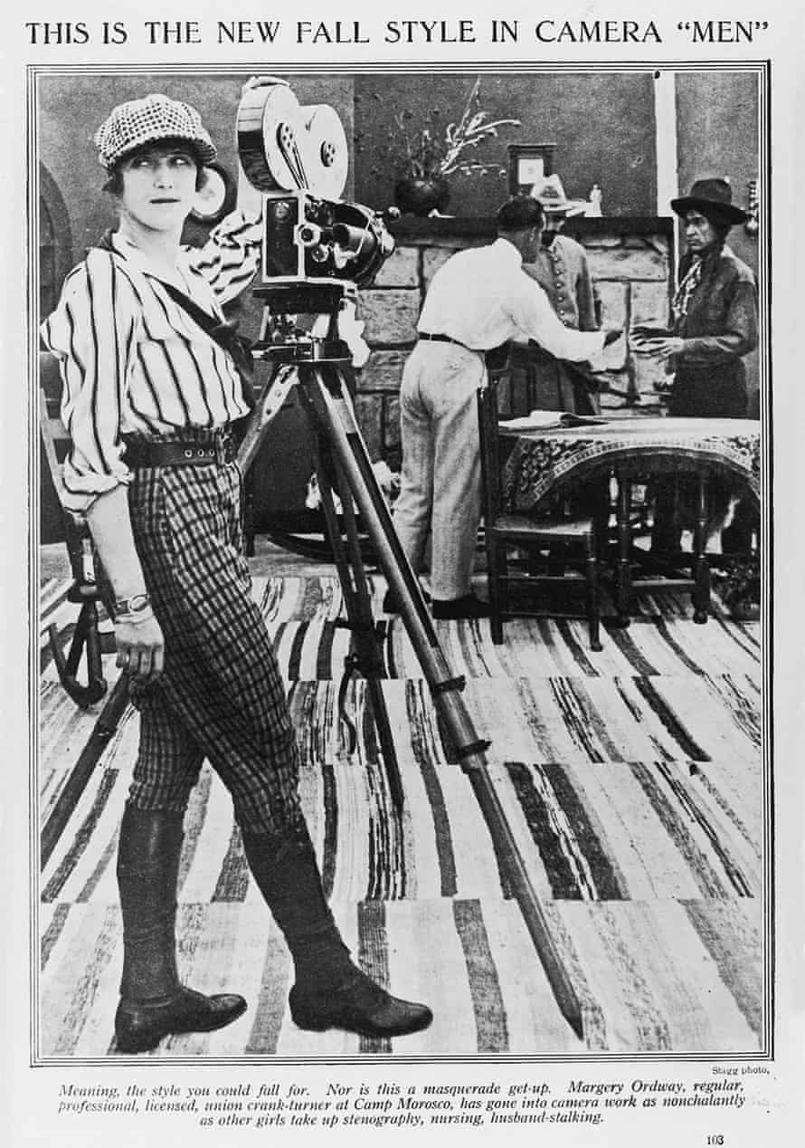 Photoplay's 1916 picture of Margery Ordway on the set of William Desmond Taylor's Her Father's Son.