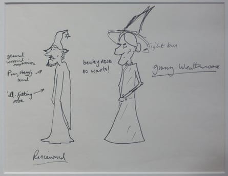 Sketches of Ricewind and Granny Weatherwax.