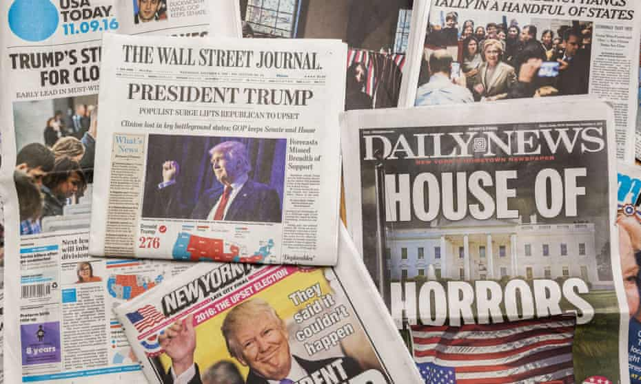 Newspaper front pages after US presidential election on 9 Nov 2016.