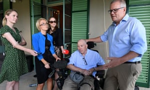 Scott Morrison with his brother-in-law, Gary Warren, at the multiple sclerosis medicine announcement