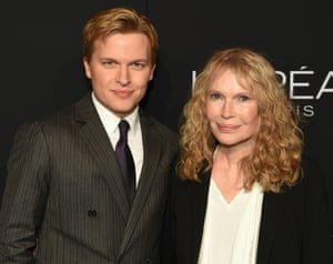 Actor Mia Farrow, recipient of the ELLE Legend Award, poses with her son, journalist Ronan Farrow, at the 25th Annual ELLE Women in Hollywood Celebration, Monday, Oct 15, 2018