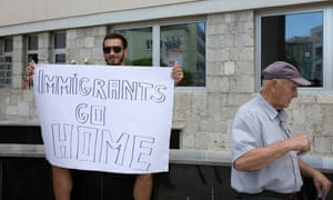 A protester against migrants and refugees in Bihać