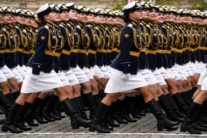 Servicewomen march through Red Square in Moscow
