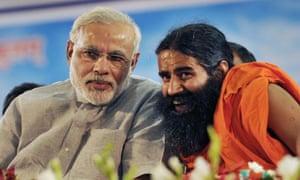 Narendra Modi (left) with Baba Ramdev in 2013.