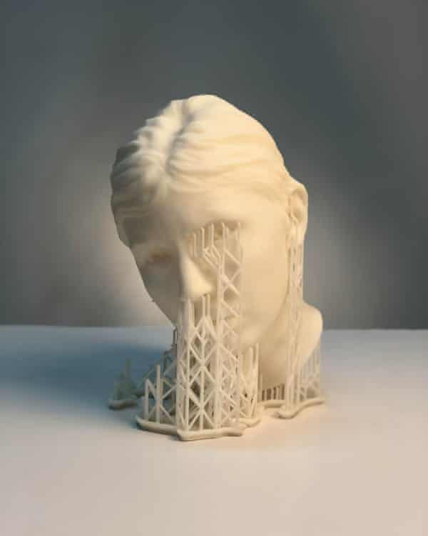 One of Hoda Afshar's busts with the 3D printing structure still intact.