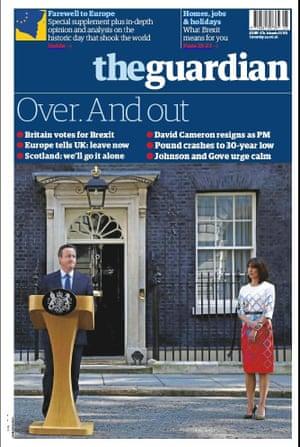 guardian newspaper front page 25 June 2016 European Referendum David Cameron resignation
